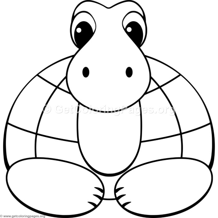 Simple Cute Cartoon Turtle Coloring Pages