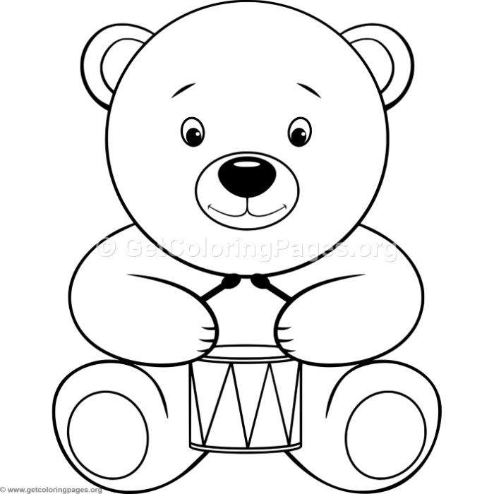 Simple Teddy Bear with Drum Coloring Pages ...