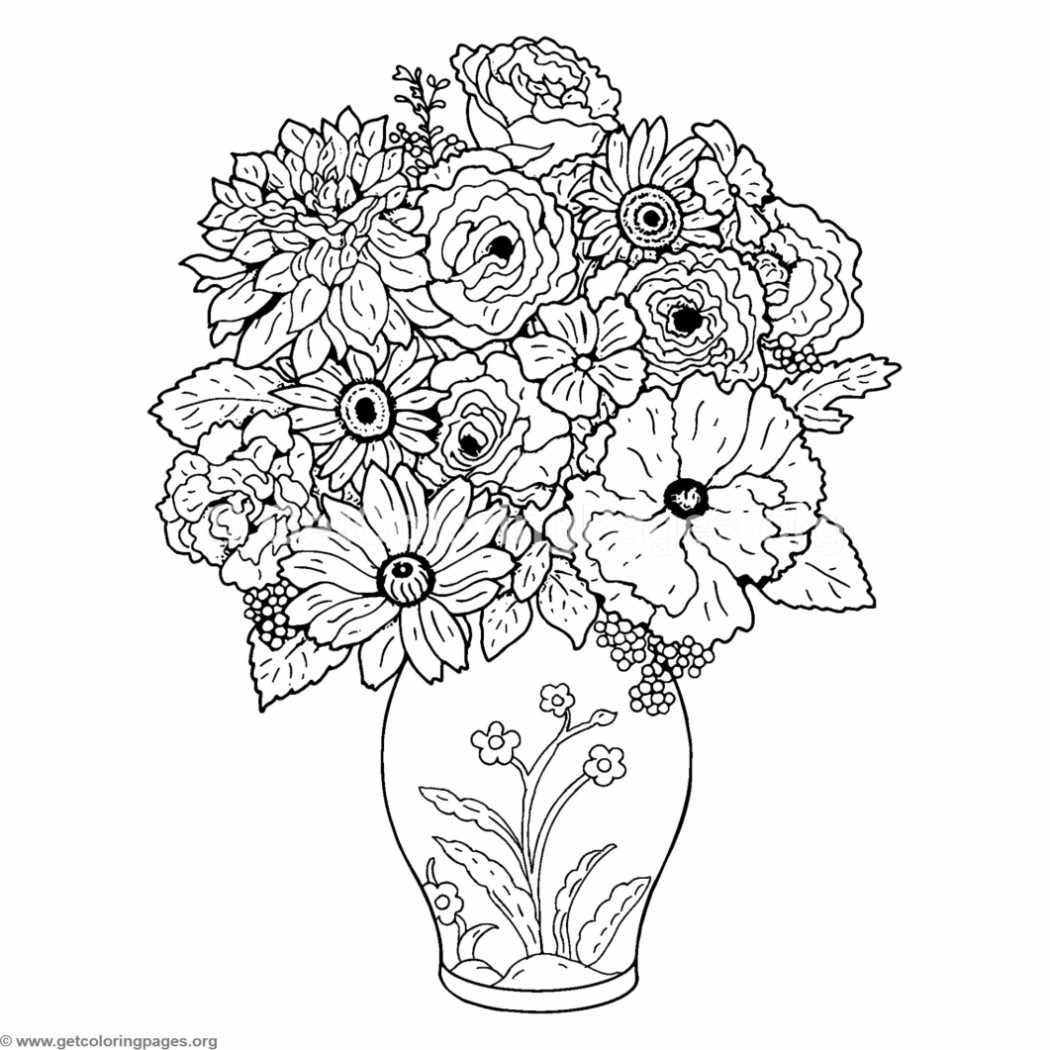 Bouquet of Flower and Vase Coloring