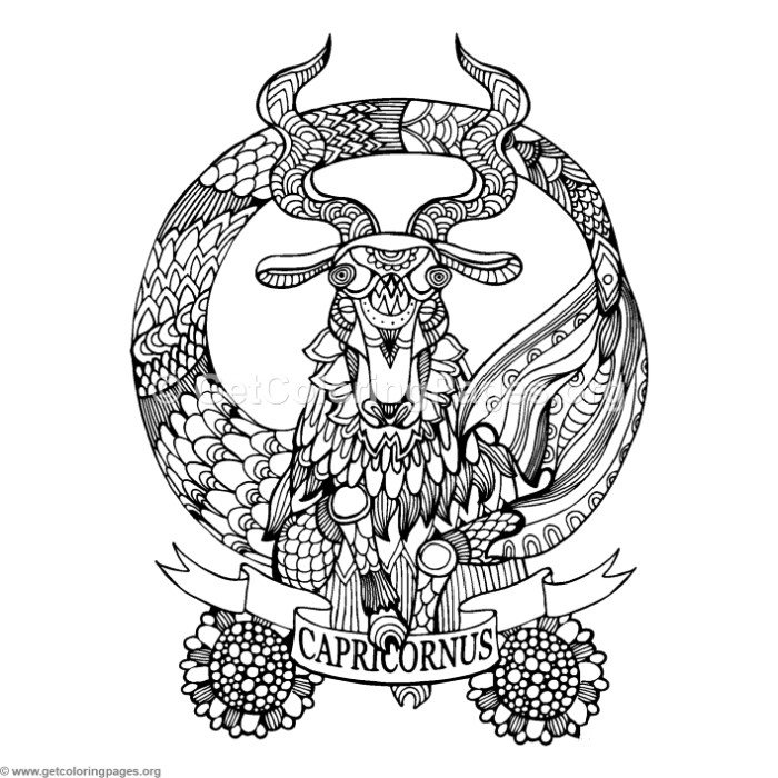 Capricorn Horoscope Sign Coloring Pages GetColoringPages