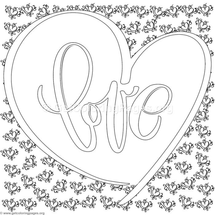Love lettering with double hearts background coloring for Double heart coloring pages