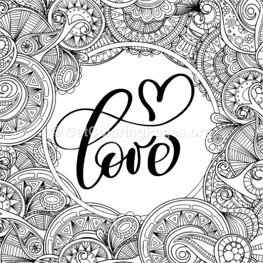 Love Zentangle Frames Coloring Pages
