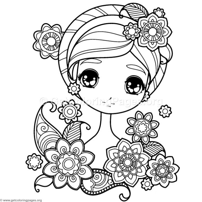 Sweet Girl With Flowers Coloring Pages