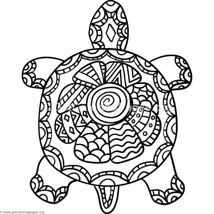 Turtle Zentangle Coloring Pages