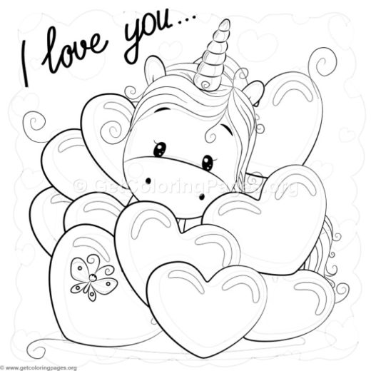 Valentines unicorns for Unicorn images coloring pages