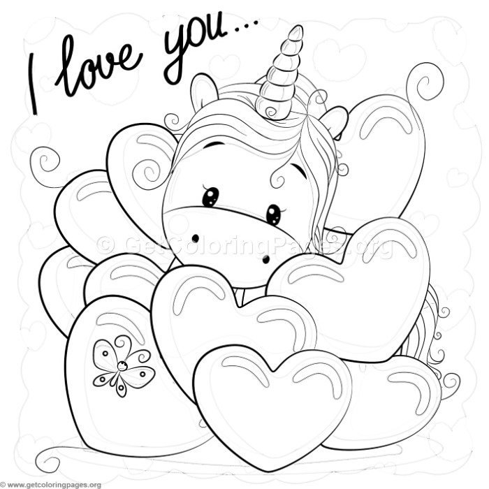 Valentine I Love You Unicorn Coloring Pages GetColoringPagesorg