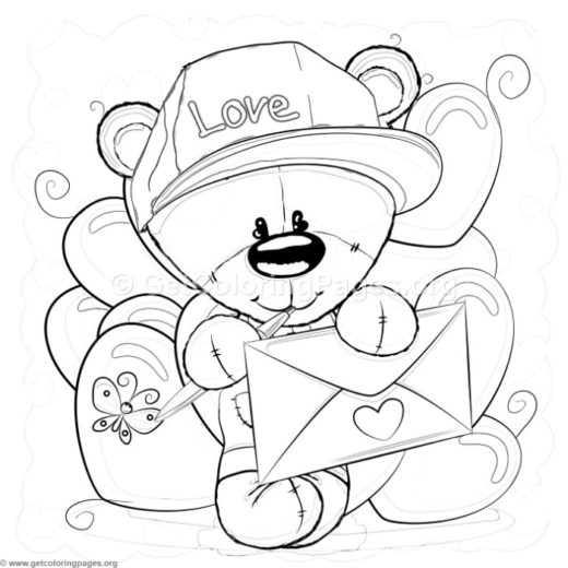 valentine teddy bear coloring pages - cute monkey 5 coloring pages