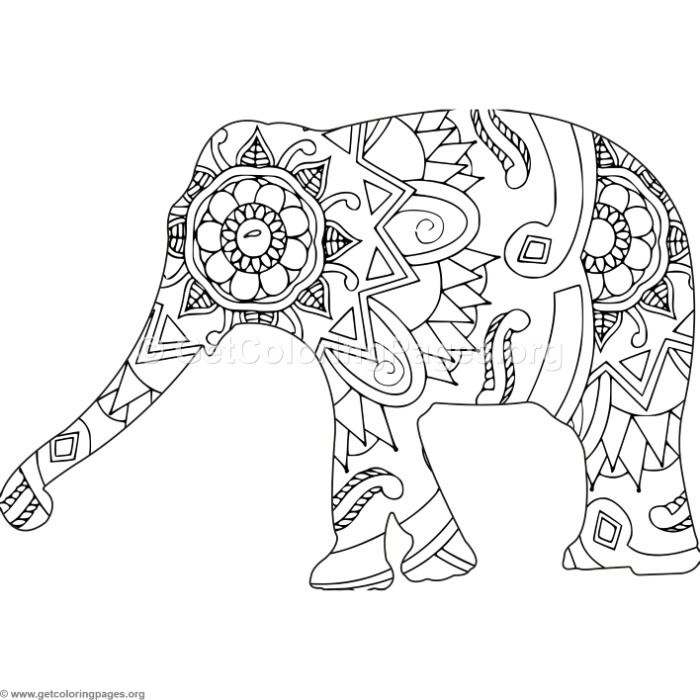 Zentangle African Elephant Coloring Pages – GetColoringPages.org