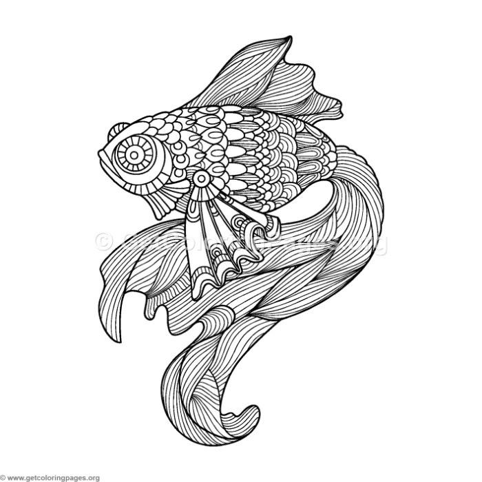 Zentangle Beta Fish Coloring Pages