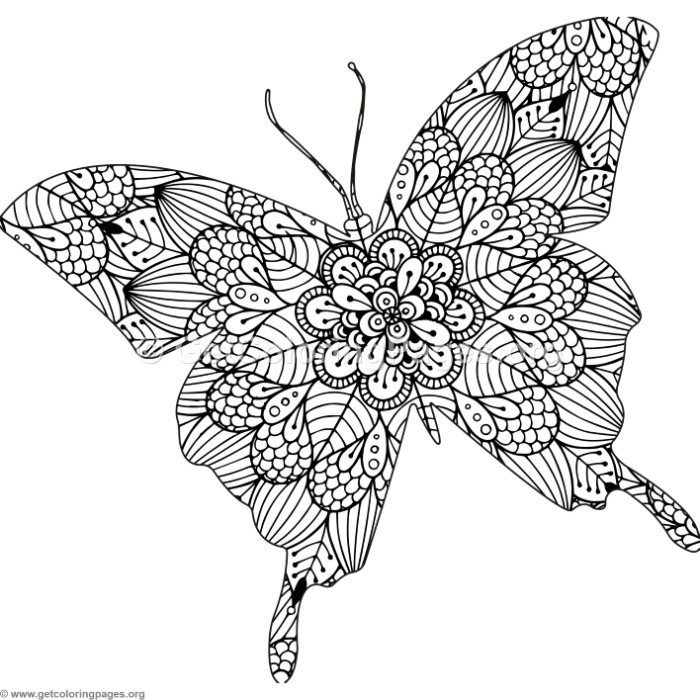 Zentangle Butterfly Coloring Pages