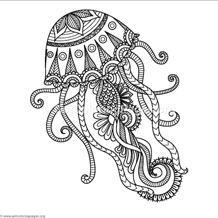 Zentangle Jellyfish Coloring Pages – GetColoringPages.org