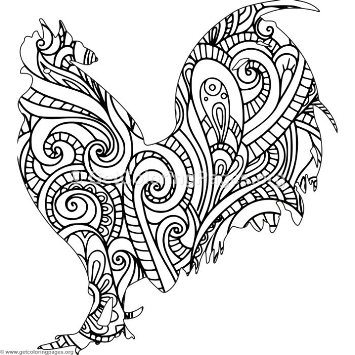 Zentangle Rooster Coloring Pages – GetColoringPages.org
