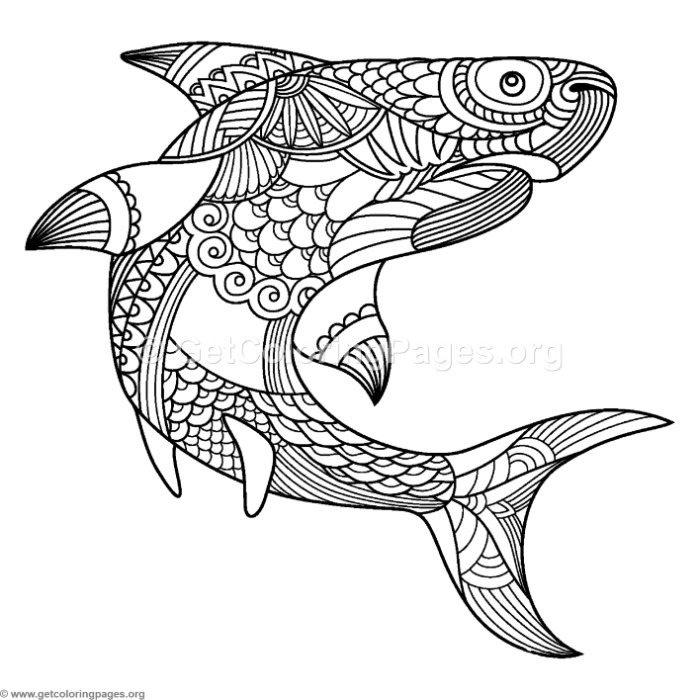 Zentangle Shark Coloring Pages