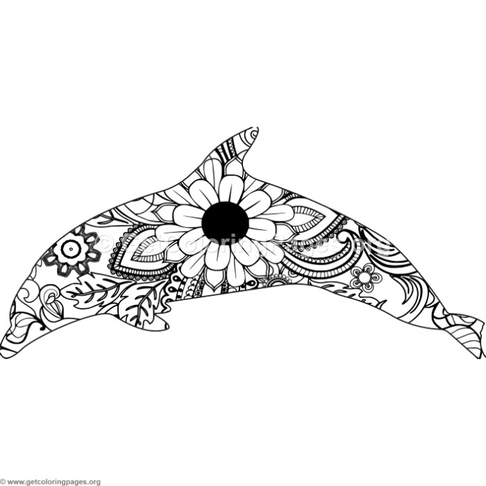 Zentangle Spinner Dolphin Coloring