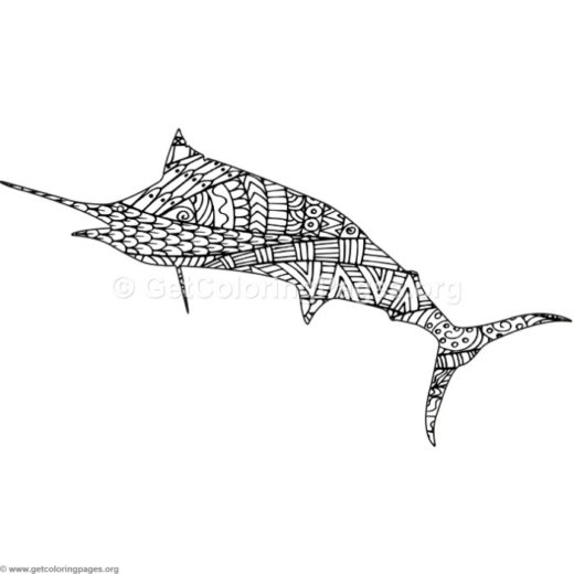 Zentangle Swordfish Coloring Pages