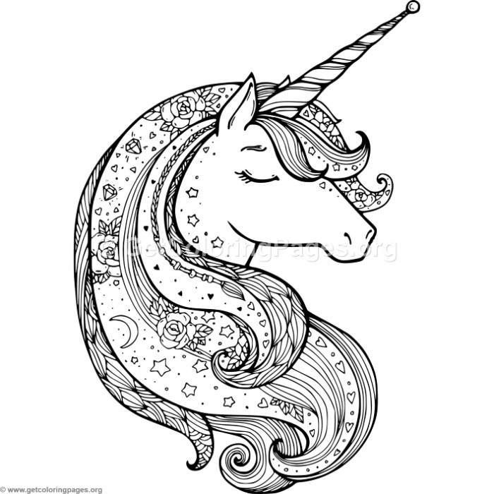 Zentangle unicorn coloring pages for Unicorn images coloring pages