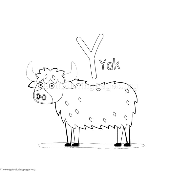 Animal Alphabet Letter Y Coloring