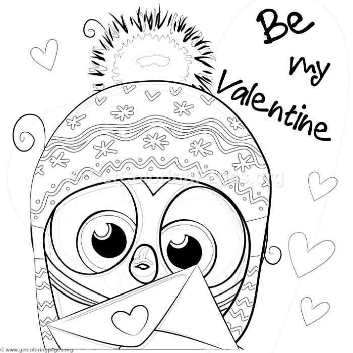 Be My Valentine Cute Owl Coloring