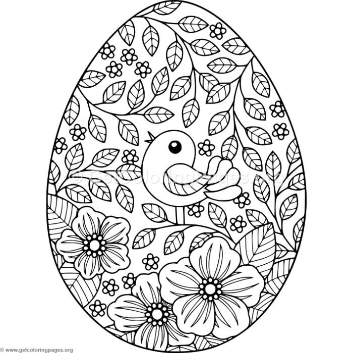 Bird And Flowers Easter Egg Coloring Pages