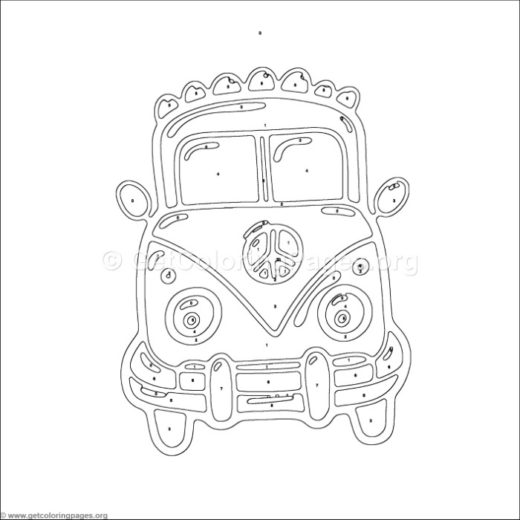 Color By Number Old Car Coloring Pages