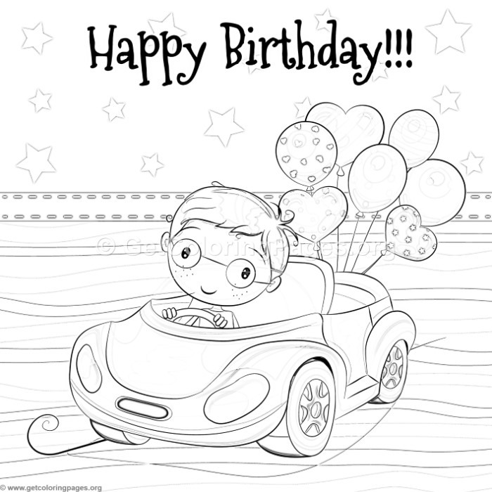 Cute Cartoon Car Little Boy And Balloons Coloring Pages