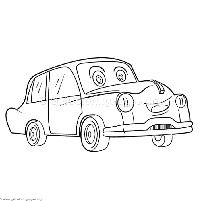 Cute Cartoon Classic Car Coloring Pages