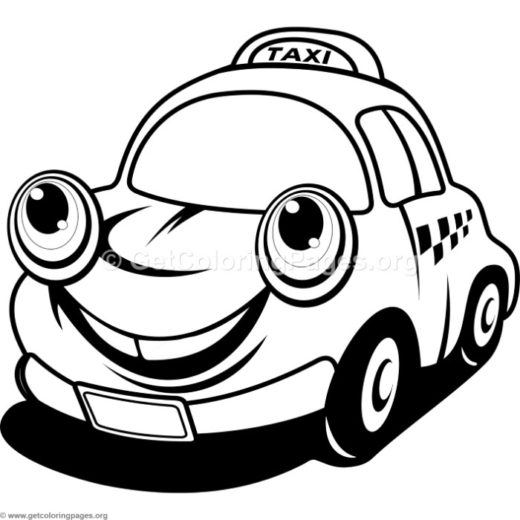 Cute Cartoon Taxi Car Coloring Pages