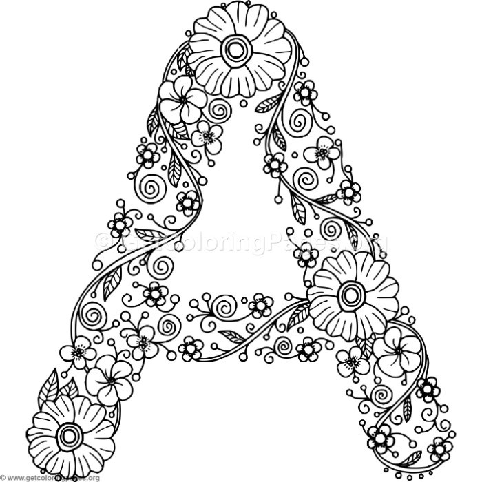 Floral Alphabet Letter A Coloring Pages - GetColoringPages.org