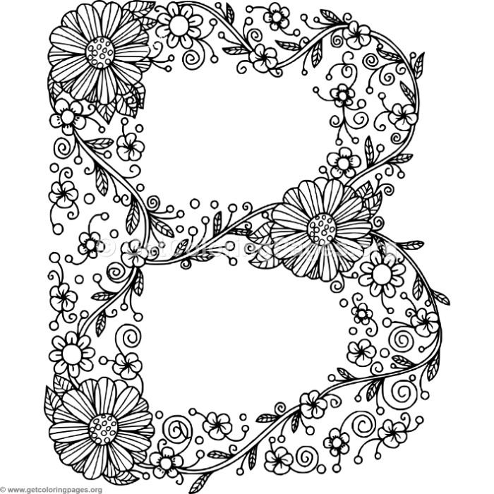 Floral Alphabet Letter B Coloring Pages – GetColoringPages.org