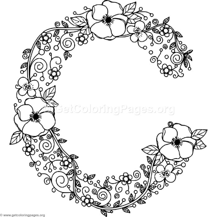 floral alphabet letter c coloring pages getcoloringpages org