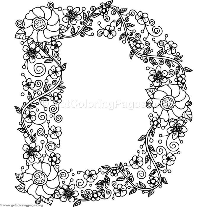 Floral Alphabet Letter D Coloring Pages - GetColoringPages.org