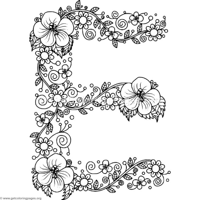 Floral Alphabet Letter E Coloring Pages – GetColoringPages.org