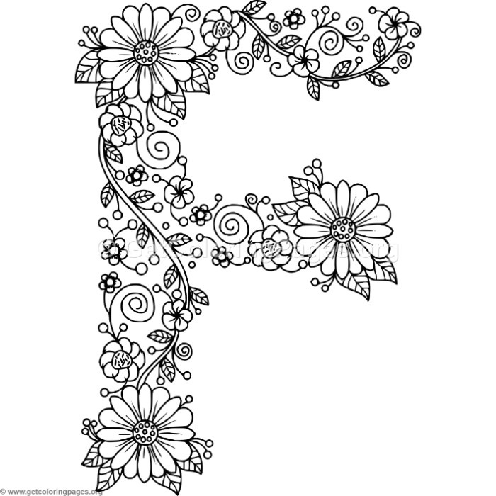 floral alphabet letter f coloring pages getcoloringpages org
