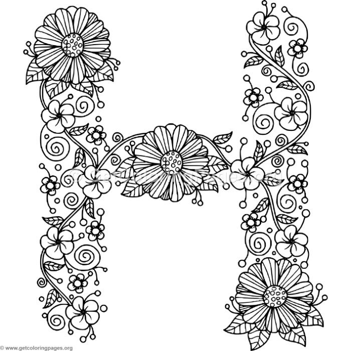 Floral Alphabet Letter H Coloring Pages – GetColoringPages.org