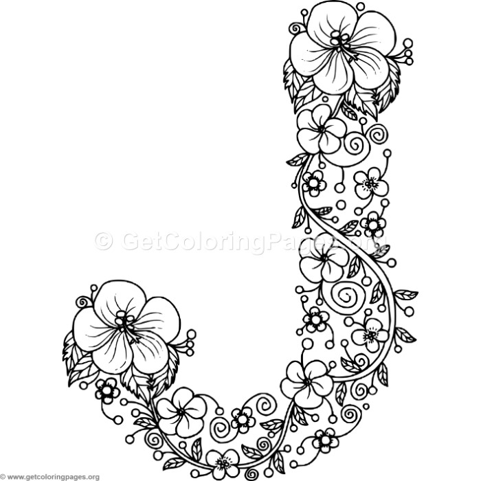 Floral Alphabet Letter J Coloring Pages Getcoloringpages Org