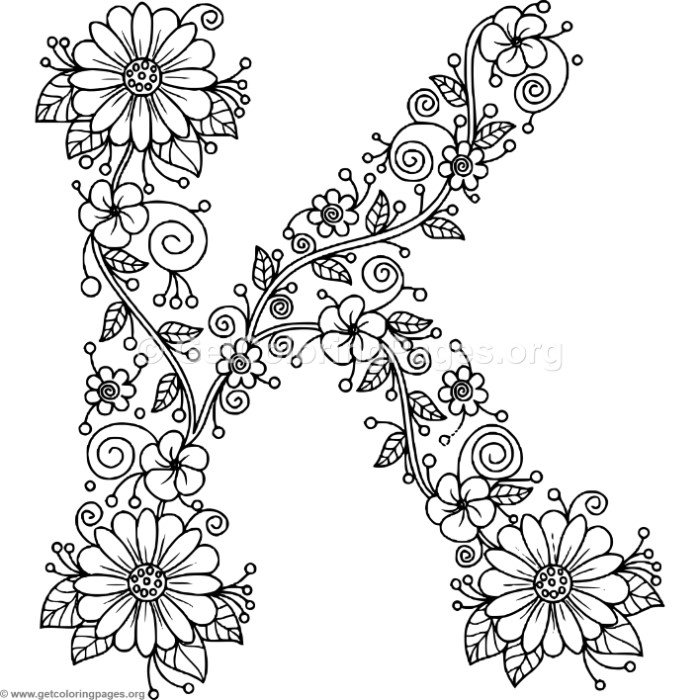 Floral Alphabet Letter K Coloring Pages - GetColoringPages.org