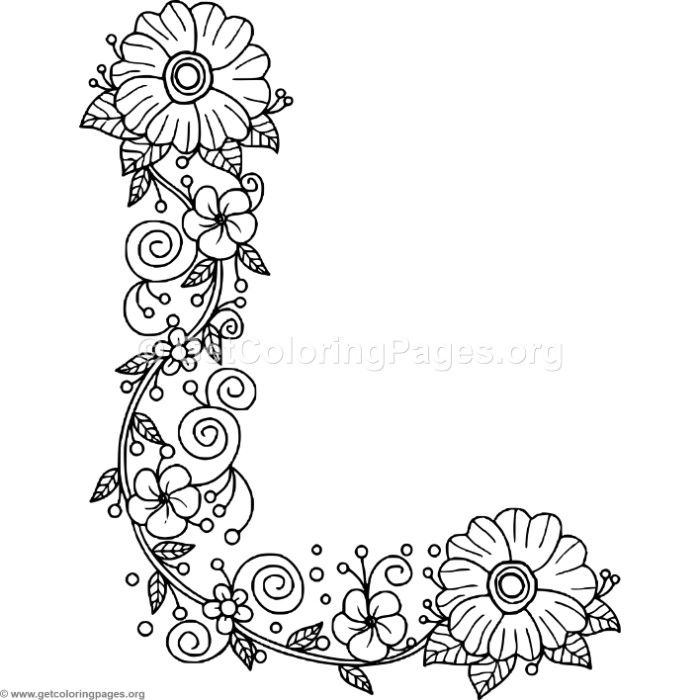 Floral Alphabet Letter L Coloring Pages - GetColoringPages.org