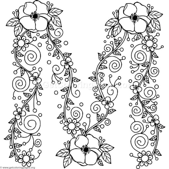 Floral Alphabet Letter M Coloring Pages - GetColoringPages.org