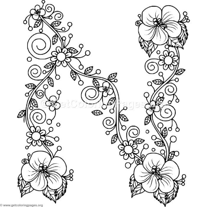flower alphabet coloring pages - photo#24