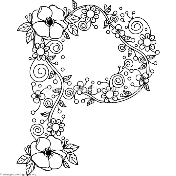 Floral alphabet letter p coloring pages for Letter p coloring pages