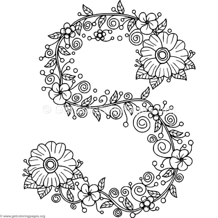 Floral Alphabet Letter S Coloring Pages – GetColoringPages.org