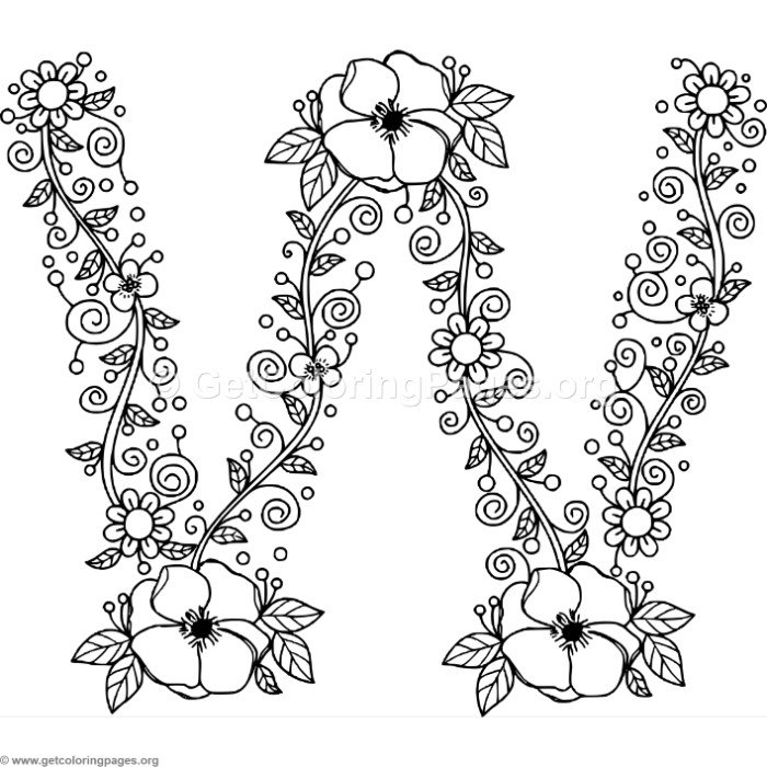 Floral Alphabet Letter W Coloring Pages - GetColoringPages.org