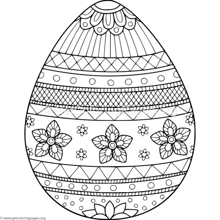 Flower Decorated Easter Egg Coloring Pages ...