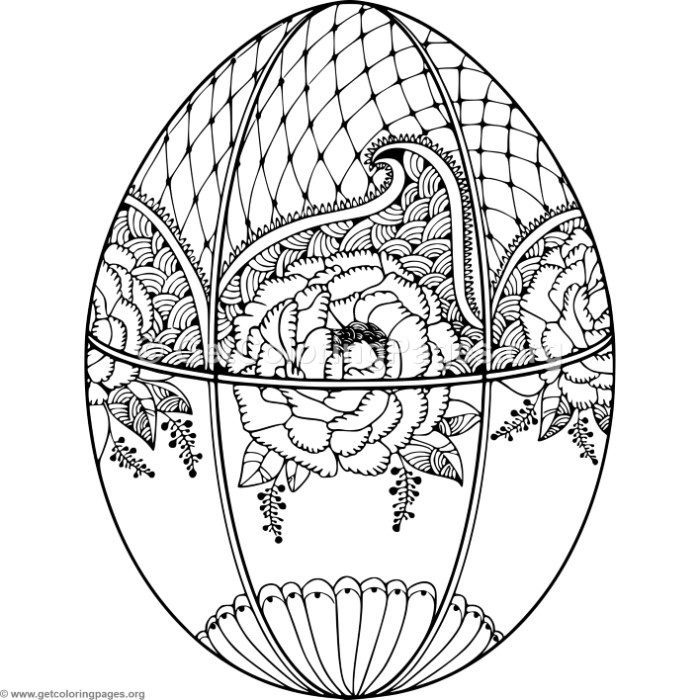 Flower Pattern Easter Egg Coloring Pages