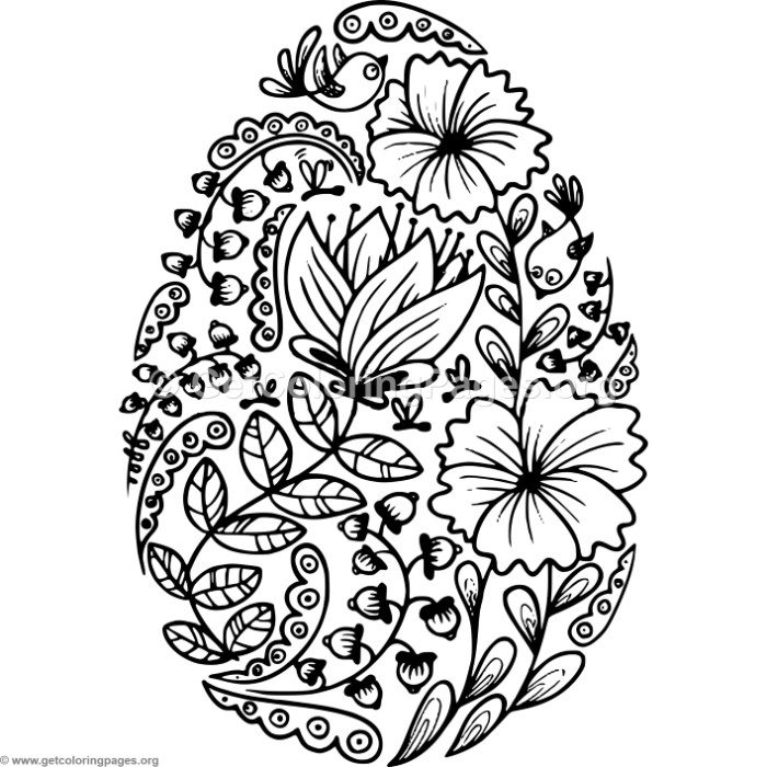 Flowers Easter Egg Coloring Pages GetColoringPages