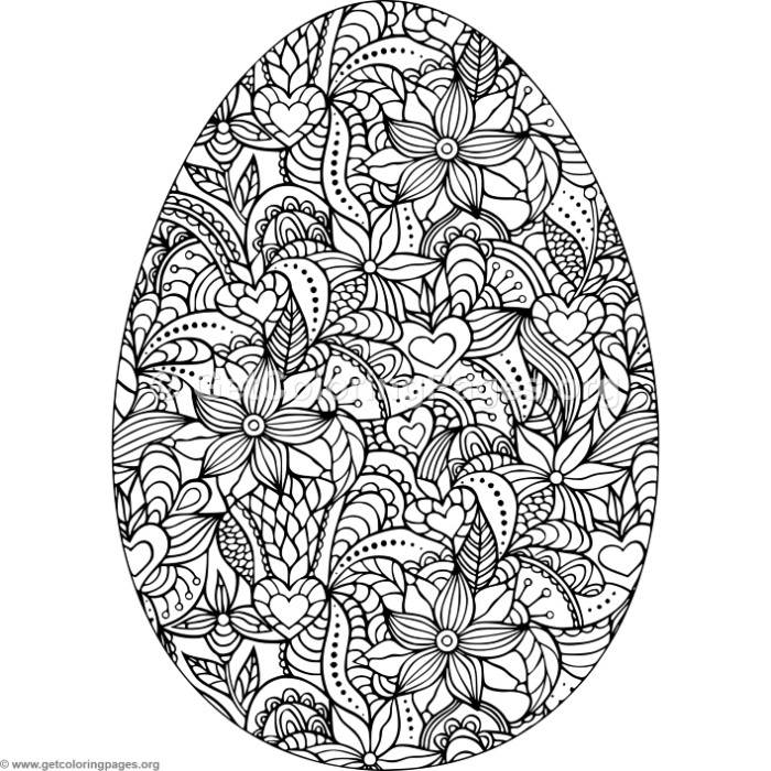 Flowers and Hearts Easter Egg Coloring