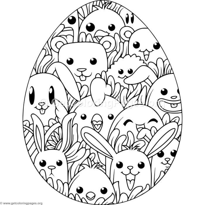 Happy Animals Easter Egg Coloring