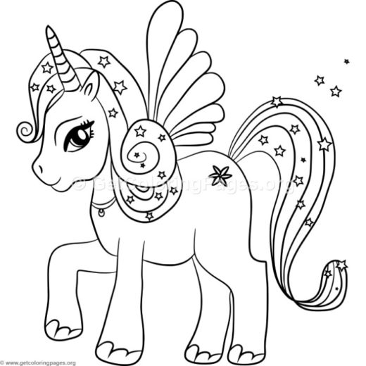 Unicorn coloring page for Unicorn with wings coloring pages