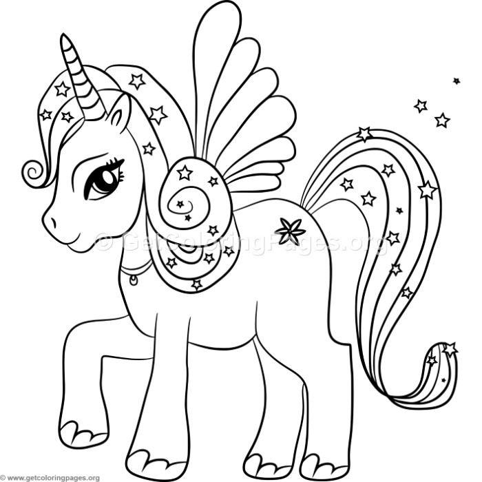 Kawaii unicorn with wings coloring pages for Unicorn with wings coloring pages