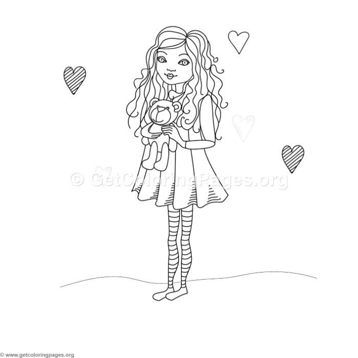 Little Girl And Teddy Bear Coloring Pages